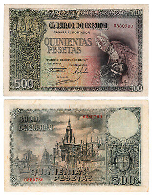 Banknotes 500 Pesetas Condition Spanish Count Orgaz 1940. without Serie. XF /
