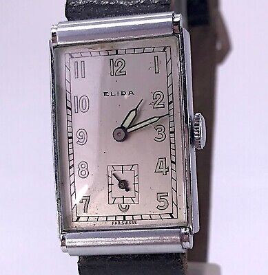 NOS Elida Working Vintage Art Deco Manual Winding Lady Watch 19,5 mm 3WC