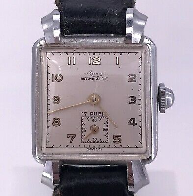 NOS Aneva Vintage Manual Art Deco Watch Doesn'T Works Watch Rope 21,5 mm 3WC