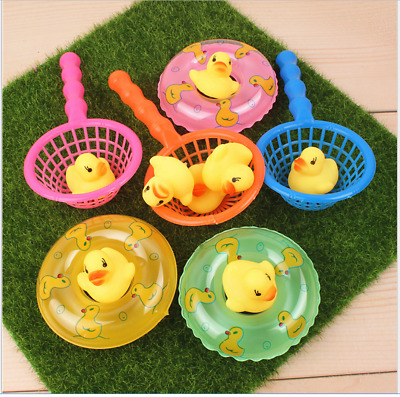 Pack of 5 Rubber Ducks With Net Baby Bath Time Toy Float Squeeze Sound
