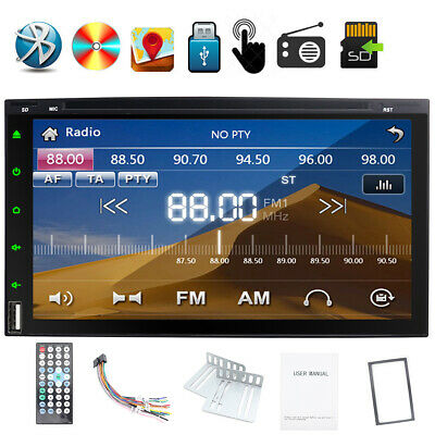 Double 2DIN 7 Inch Indash Car Stereo Auto Radio CD DVD Player Bluetooth MP3 USB