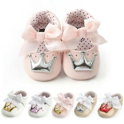 Newborn Baby Girl Bow Princess Crib-Shoes Anti-slip Soft Sole Sneaker Prewalker
