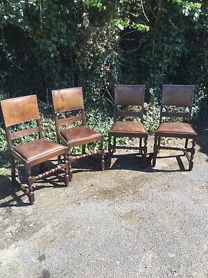 4 x Vintage Solid Oak And Leather Kitchen Dining Chairs 1920's 1930's Rustic