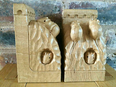 Magnificent Pair of Rare Hand-Carved Robert Mouseman Thompson Oak Trio Bookends
