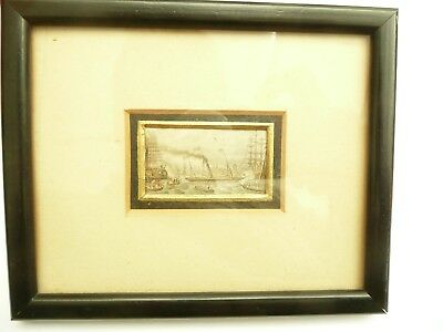 Rare Antique Victorian Miniature Painting Of Early Steamship In Harbour C1850
