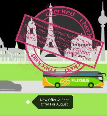 #1 Flixbus Coupon kupon rabbatt 20% -sconto valid until 31/07/2019 ship24h