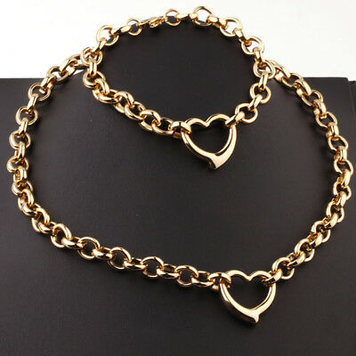"""Women Gold Oval Chain Heart Charm Stainless Steel Necklace Bracelet Set 18+8"""""""
