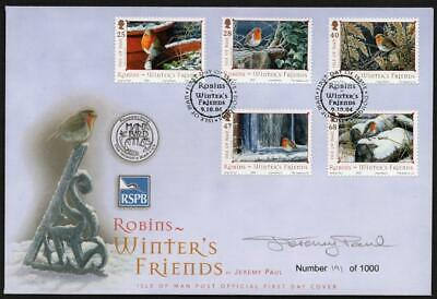 ISLE OF MAN MNH 2004 Robins Winter Friends Limited Edition FDC