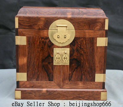 """13.2""""China Natural Huanghuali Wood Carved Handle 5 Drawer jewel case Jewelry box"""