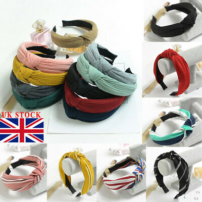 UK Women Cute Headband Alice Band Top Knot Fashion plain Headband Twist Hairband