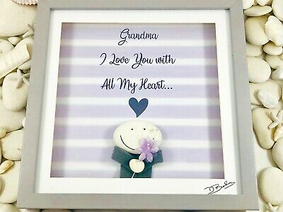 Pebble Art Picture - Grandma I love you with all my Heart - Birthday Gift.