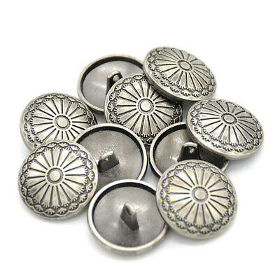 2~10PC Flower Zinc Alloy Silver Shank Sewing Buttons DIY Sewing Jacket Coat Jean
