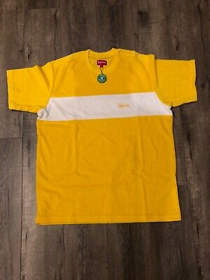 c10c94e1 New Supreme Chest Stripe Terry Top Size L Large Yellow SS18 100% Authentic