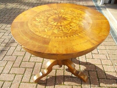 19th Century Italian Sorrento Marquetry Inlaid Wood ANTIQUE round Centre Table