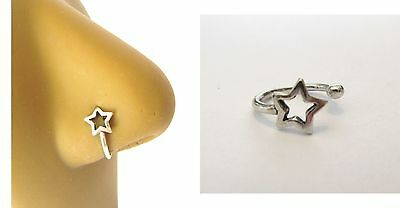 Sterling Silver Fake Faux Open Star Nose Hoop Clip Cuff Looks 18 gauge