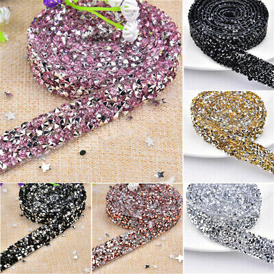 Rhinestone Chain Beaded Iron On Applique Trim Wedding Bridal Dress Embellishment