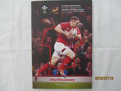 Wales v South-Africa. Rugby Union. November 2018. Match Programme.