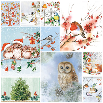 Christmas Birds - Pack of 20 Mixed Paper Napkins for Decoupage, napkin art