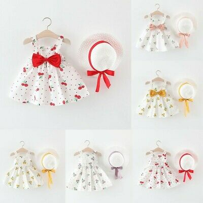 Toddler Baby Kids Girls Sleeveless Cherry Dot Princess Dresses Bow Hat Outfit ED