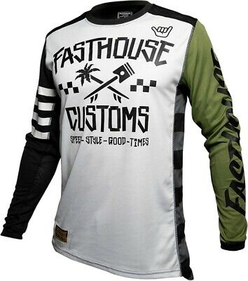 Fasthouse Hawk Motocross MX Race Jersey White Olive Adult