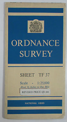 1960 old OS Ordnance Survey 1:25000 First Series Provisional map TF 37 Tetford