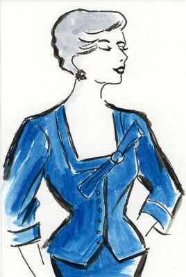 """""""FRENCH 50`s"""" ORIGINAL ACEO WATERCOLOUR PAINTING FASHION ILLUSTRATION"""
