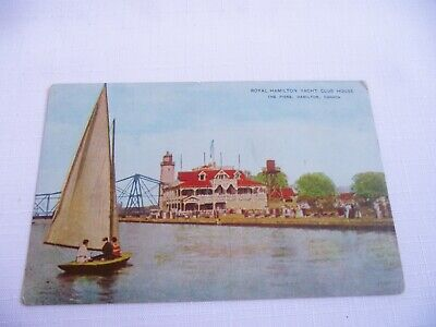 Royal Hamilton Yacht Club House Ontario Postcard Unposted Yacht On Waterfront