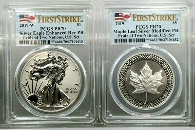 2019 Pride of Two Nations 2pc. Set U.S. Set PCGS PR70's FIRST STRIKE ~ LIVE