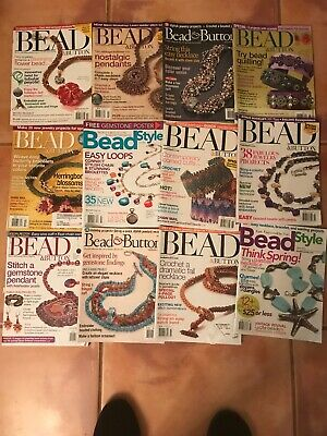 Lot Of 12 Bead Button Magazines Past Issues 2002 - 2008 Pre Owned Thick