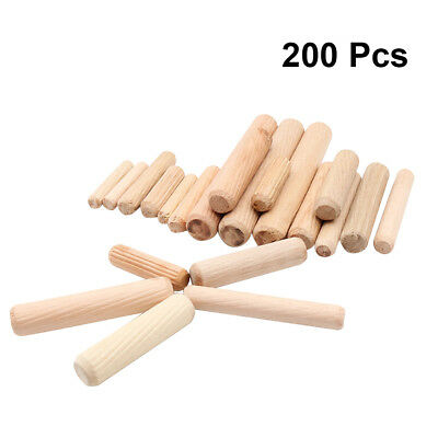 200 Pcs Wood Dowel Pins Straight Fluted DIY Repairing Dried Wood Pins for Crafts