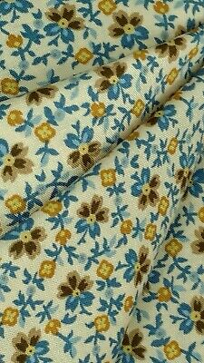 Fabric 4 FULL YARDS MBT Gold Brown Blue🐦 Floral Cotton Sew Quilts Clothes Kid
