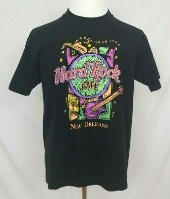 VTG 90s Hard Rock Cafe Mardi Gras 1995 T-Shirt Mens Large Neon Single Stitch Tee