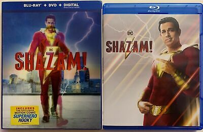Dc Shazam! Blu Ray Dvd 2 Disc Set + Lenticular Slipcover Sleeve Free Shipping