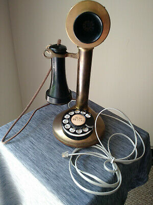 Antique PAT. NOVEMBER 1910 ROTARY DIAL BRASS CANDLESTICK TELEPHONE Wired 2 WORK