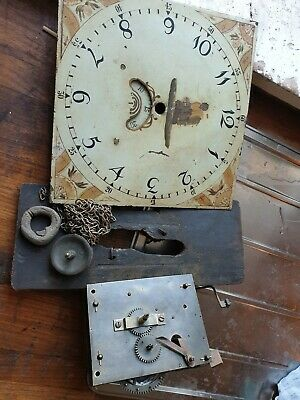 Antique grandfather clock face and movement for restoration