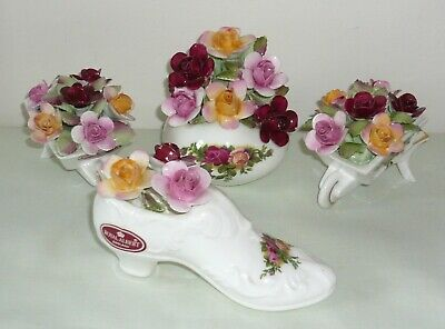 Royal Albert  'Old Country Roses'  Decorative Items x 4 with Sculpted Roses
