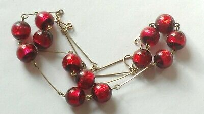 Czech Vintage Art Deco Deep Red Foil Glass Bead Necklace Rolled Gold Links