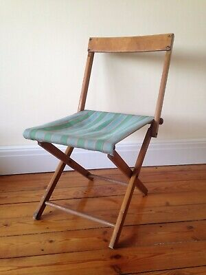 Antique Vintage WOODEN FOLDING Small STEAMER CHAIR or STOOL