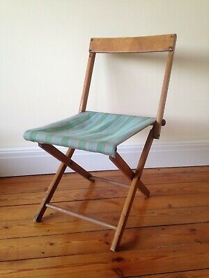 Antique Vintage Wooden Folding Chair Or Stool