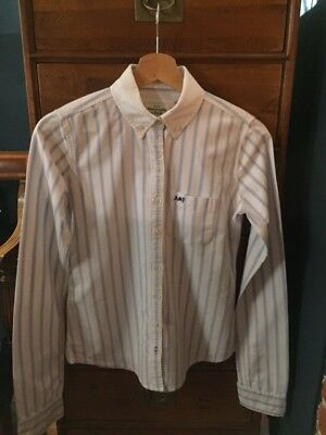 Abercrombie & Fitch Preppy Style  Brushed Cotton Blue & White Striped Shirt,  XS