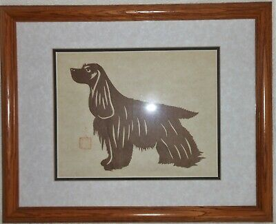 Great Japanese Krigami (Cut Paper) Silhouette Of A Spaniel Chop And Hand Marked