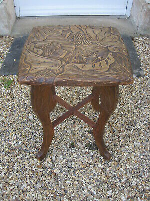 Antique Liberty Carved Oak Japanese Table #