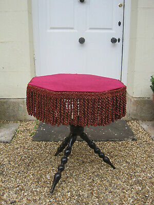 Victorian Gypsy Table With Octagonal Red Velvet Fringed Top #