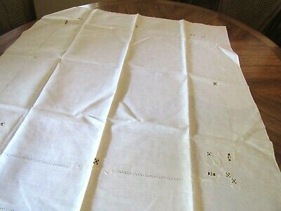 "Vintage Linen off white tablecloth with Cutwork and Embroidery 32"" sq (t4)"