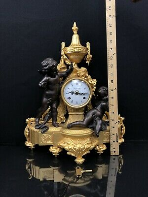 Solid Bronze Imperial Italian Brevettato Mantle Clock With Chrubs