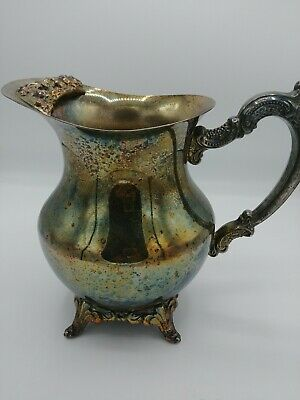 Oneida USA Silverplate Water Pitcher with ice lip very ornate handle and lip