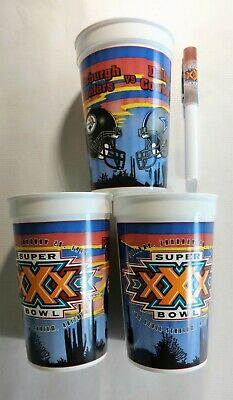NFL, Superbowl XXX , Cowboys & Steelers, Three 16 oz Tumblers & Ink Pen