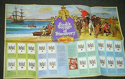 """Vintage Unused Weet-Bix """"Cooks Voyage Of Discovery"""" Project Card Poster"""