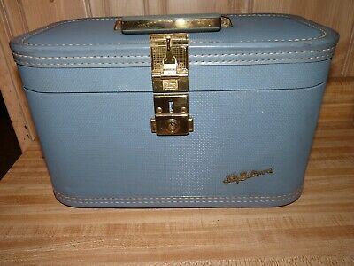 Vintage Lady Baltimore Blue Train Case Luggage Makeup Mirror and Tray