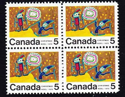 Canada MLH block, 1970 sc#522i (with 522iii) Christmas 5¢ Children Skiing